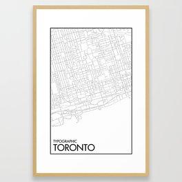 Typographic Toronto (B&W Just Roads Version) Framed Art Print