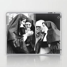 Smoking Nuns, Black and White, Vintage Wall Art Laptop & iPad Skin