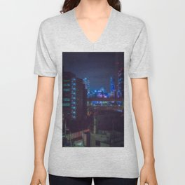 View from Tokyo roof/ blue and purple lights at night / Cyberpunk/Blade runner vibes. Unisex V-Neck