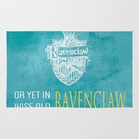 ravenclaw Area & Throw Rugs featuring Wise Old Ravenclaw by MilkP