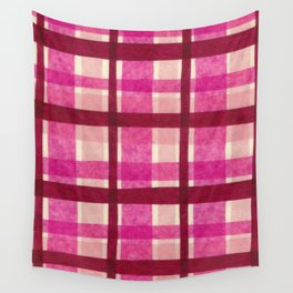 Tissue Paper Plaid - Pink Wall Tapestry