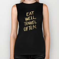 Eat Well Travel Often on Gold Biker Tank