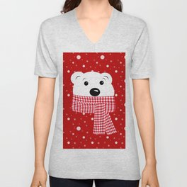 Muzzle of a polar bear on a red background. Unisex V-Neck