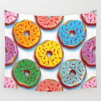 donuts Wall Tapestries featuring Donuts by Helene Michau