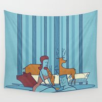 swimming Wall Tapestries featuring SWIMMING POOL by Ale Giorgini