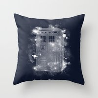 tardis Throw Pillows featuring Tardis by Zach Terrell