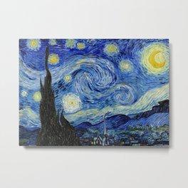 Starry Night by Vincent Van Gogh, 1889 Artwork for Wall Art, Prints, Posters, Tshirts, Men, Women, Kids Metal Print
