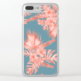 Dreaming of Hawaii Pale Coral on Teal Blue Clear iPhone Case