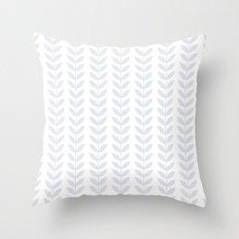 Light Grey Scandinavian leaves pattern Throw Pillow