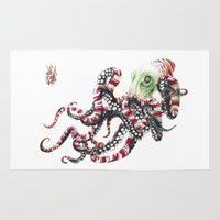 poop Area & Throw Rugs featuring Poop pulpo by Javier Medellin Puyou aka Jilipollo