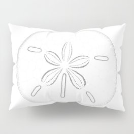 Sand Dollar Blessings - Black on White Pointilism Art Pillow Sham