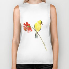 American Goldfinch and Red Flower, Minimalist Yellow Red Floral art Biker Tank