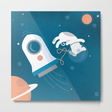 Darwin the Diddy Dog Diving into Deep Space Metal Print