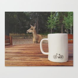 Coffee with a Deer Friend Canvas Print