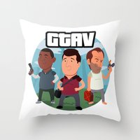 grand theft auto Throw Pillows featuring Grand Theft Auto V Cartoon by Aaron Lecours