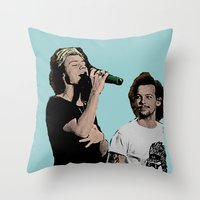 larry stylinson Throw Pillows featuring Pop Art Larry Stylinson  by JodiYoung