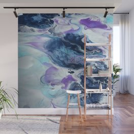 Navy Blue, Teal and Royal Purple Marble Wall Mural