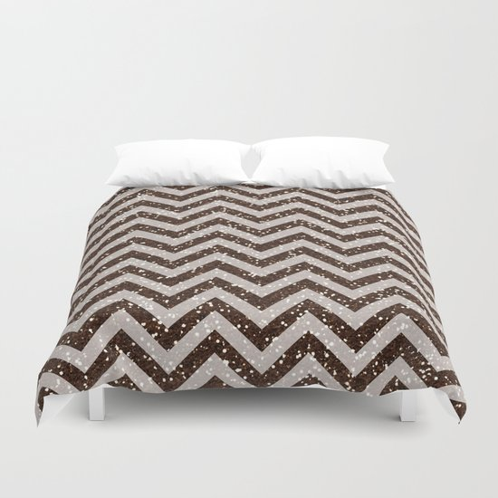 Sparkling brown glitter chevron pattern - coffee IV Duvet Cover