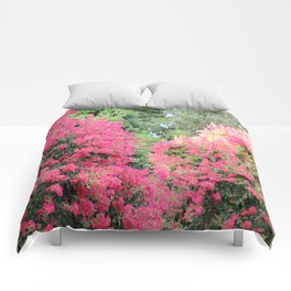 Surrounded by Pink Flowers Comforters