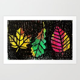 Fun Fall Rainbow Leaves Art Print