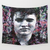 elvis presley Wall Tapestries featuring ELVIS PRESLEY by Vonis
