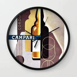 Vintage Cordial Bitter Campari Guitar Motif Advertisement Poster Wall Clock