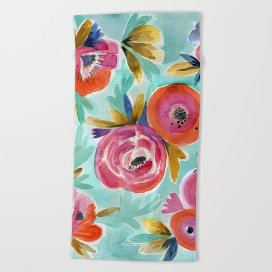Rain Flower Beach Towel