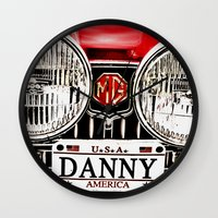 danny ivan Wall Clocks featuring MG Danny by Catherine Doolan