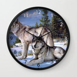 Two wolves in winter Siberian Wall Clock