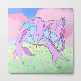 Happy Dancing Unicorns Metal Print