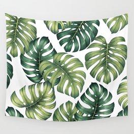 Monstera botanical leaves illustration pattern on white Wall Tapestry