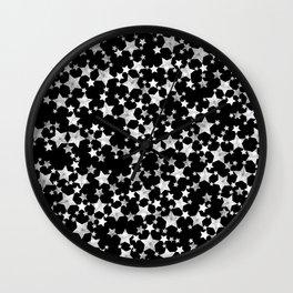 Hand Printed Black and White Stars Wall Clock