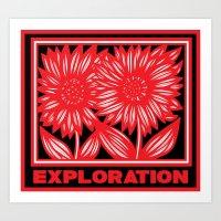 Wariner Flowers Red White Black Art Print
