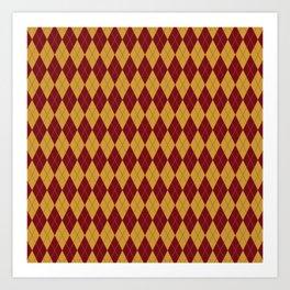 Geometric burgundy yellow orange diamond shapes stripes Art Print
