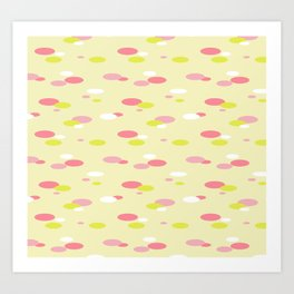 Abstract yellow Floating oval shapes pattern Art Print