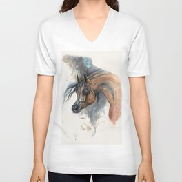 Arabian horse portrait watercolor art Unisex V-Neck