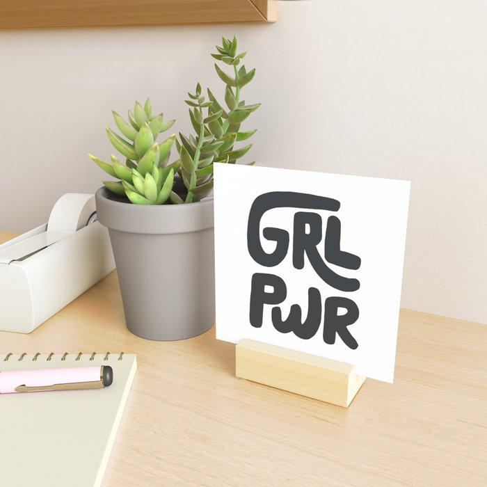Grl Pwr black and white Mini Art Print