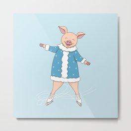 hello winter with cute piggy Metal Print