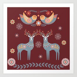 Nordic Winter Red Art Print