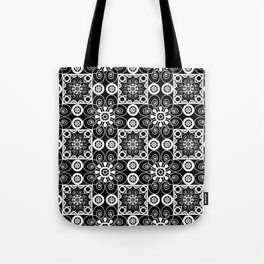 Retro .Vintage . Black and white openwork ornament . Tote Bag
