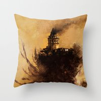 istanbul Throw Pillows featuring istanbul  by Atalay Mansuroğlu