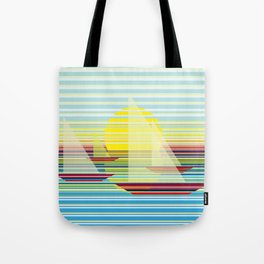 Sailing at sunrise Tote Bag