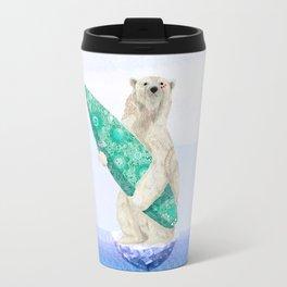 Polar bear & Surf (green) Travel Mug
