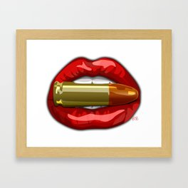 Biting The Bullett Red Lips on White Framed Art Print