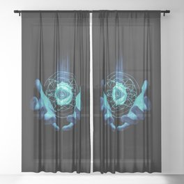 Virtual Reality Check Sheer Curtain