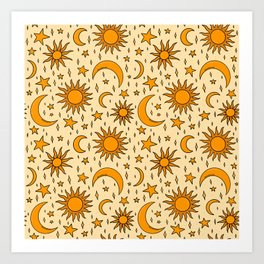 Vintage Sun and Star Print Art Print