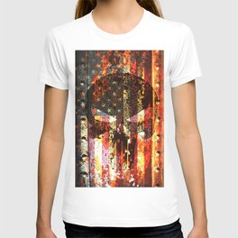 Skull on Rusted American Flag T-shirt