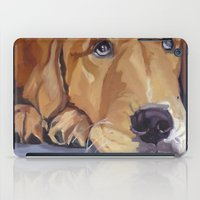 golden retriever iPad Cases featuring Golden Retriever Eyes by Barking Dog Creations Studio