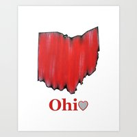 ohio state Art Prints featuring Ohio State Love by Fischer Fine Arts