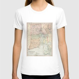 Vintage Map of Rhode Island (1891) T-shirt